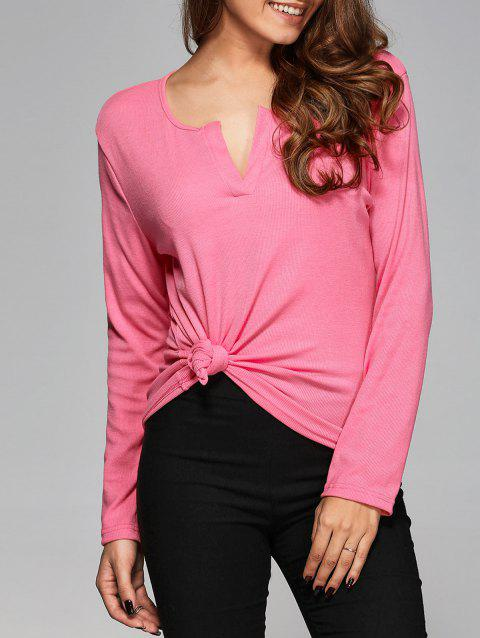 V Neck Slimming T-Shirt - PINK S