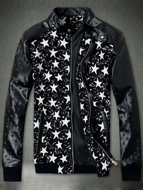 Embossed PU Leather Insert Star Print Zip Up Jacket - BLACK XL