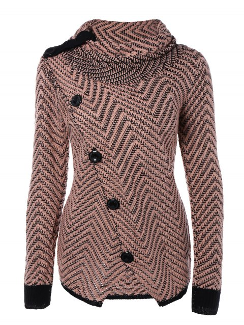 Roll Neck Long Sleeves Button Cardigan - COLORMIX M
