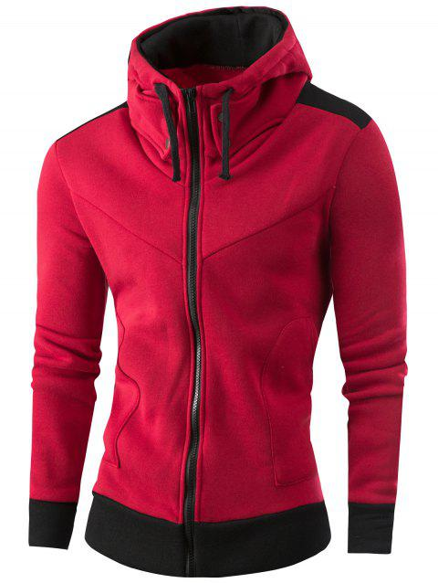 Full Zipper Deux Tons Sweat à Capuche - Rouge vineux L