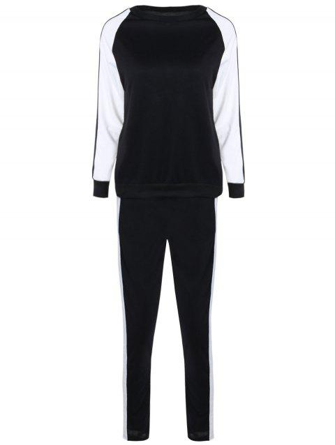 Long Sleeves Color Block Sweatshirt with Pants - WHITE/BLACK S
