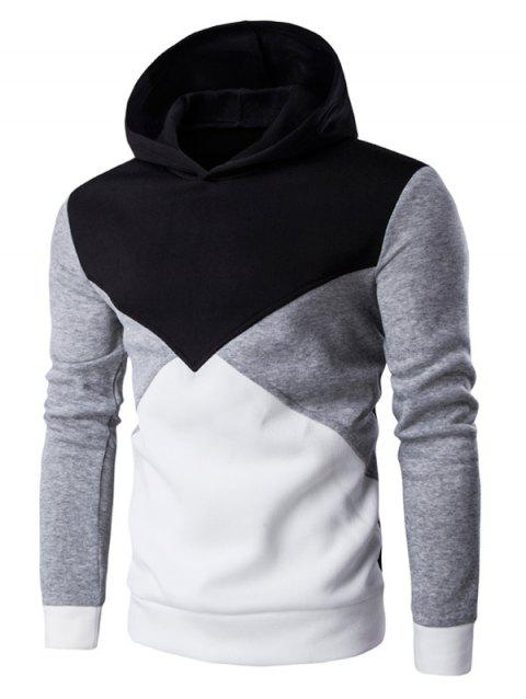 Slim Fit Color Blocked Pullover Hoodie - BLACK XL