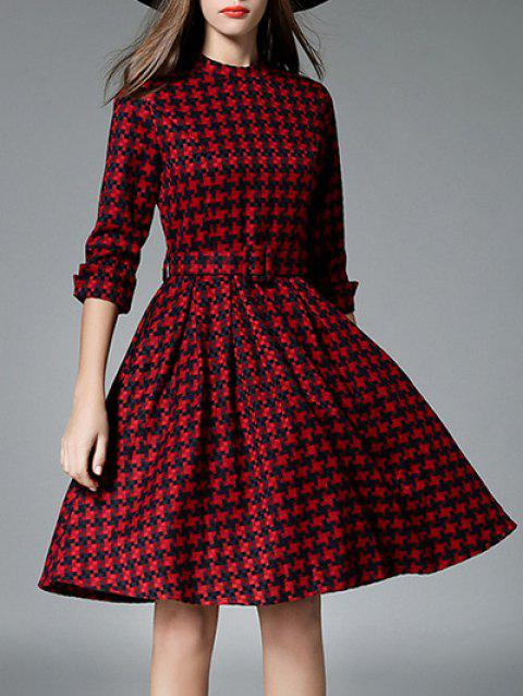 3/4 Sleeves Plaid Belted Dress - WINE RED S