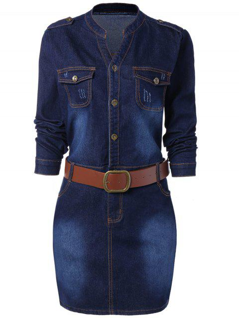 Plus Size Fitted Denim Jean Dress with Belt - BLUE 3XL