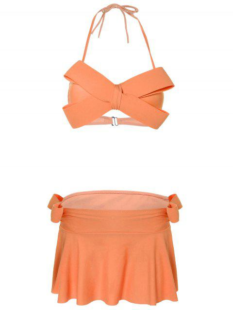 Halter Bowknot Skirtini - ORANGE XL