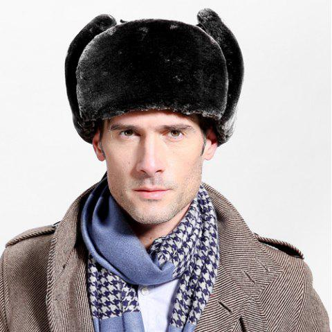 Winter Faux Fur and Button Embellished PU Lei Feng Hat - BLACK