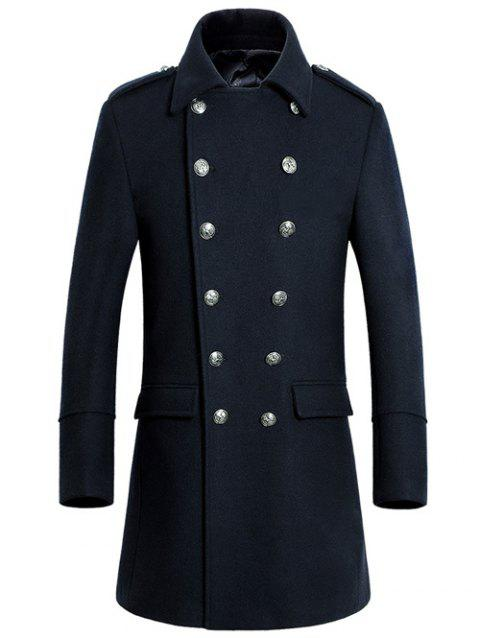 Col rabattu Double-Breasted Woolen Blend Coat - Cadetblue L
