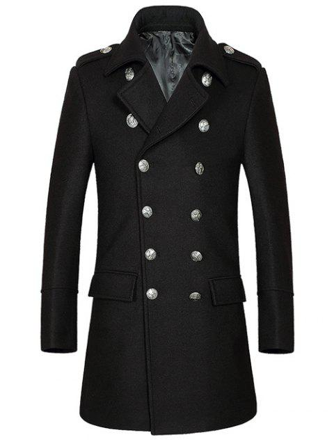 Turn-Down Collar Double-Breasted Woolen Blend Coat - BLACK M