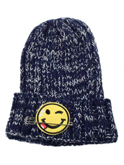 2019 Winter Smile Face Safety Pin Knitted Hat In CADETBLUE ... c32698bf9c39