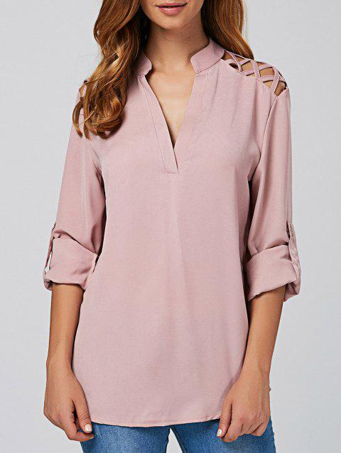 Cut Out V Neck Tunic Blouse - PINK M
