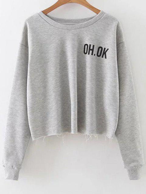 Dropped Shoulder Graphic Crop Sweatshirt - GRAY L