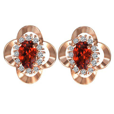 Faux Ruby Rhinestone Clover Earrings - ROSE GOLD