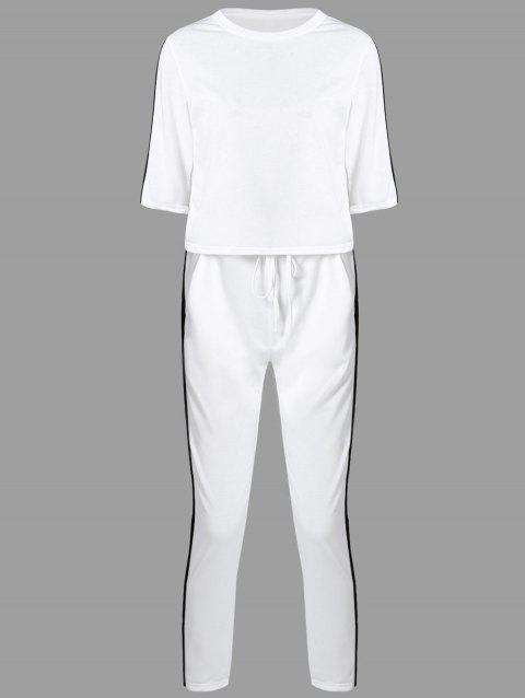 Color Block T-Shirt with Pants - WHITE S
