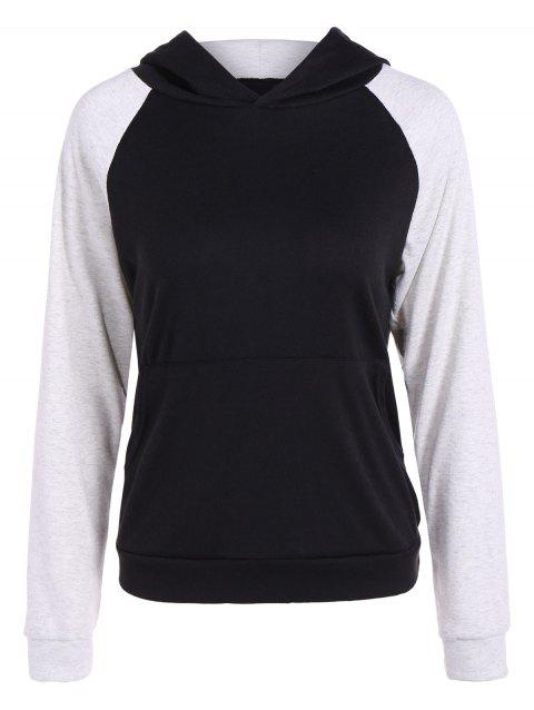 Two Tone Pullover Hoodie - BLACK/GREY XL