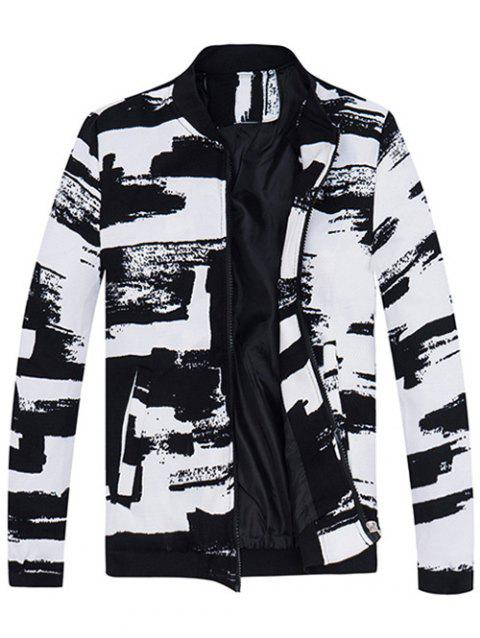 Rib Insert Abstract Print Zip Up Jacket - WHITE M