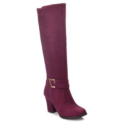 Dark Colour Zipper Metal Boots - WINE RED 38