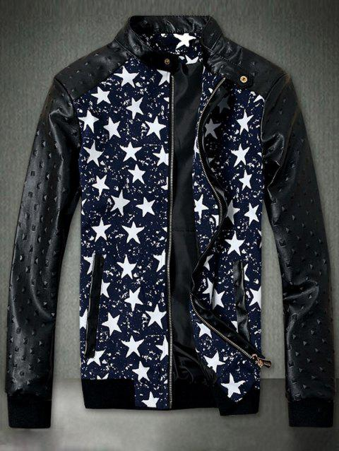 Embossed PU Leather Insert Star Print Zip Up Jacket - BLUE L