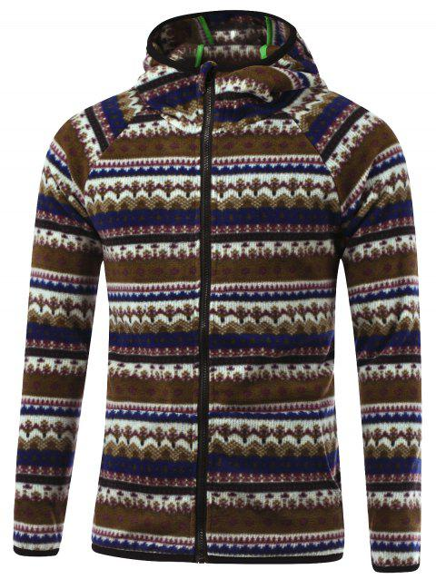 Raglan manches imprimé tribal Hooded Zip Up Jacket - Café L