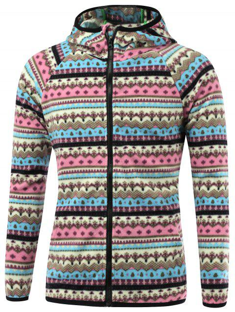 Raglan manches imprimé tribal Hooded Zip Up Jacket - Bleu L