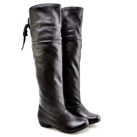 PU Leather Tie Up Flat Heel Knee High Boots - BLACK 37