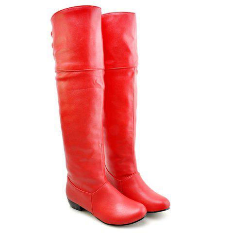 PU Leather Tie Up Flat Heel Knee High Boots - RED 37