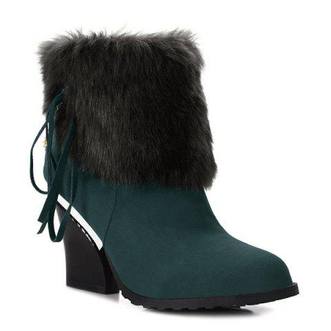 Chain Chunky Heel Faux Fur Short Boots - BLACKISH GREEN 42
