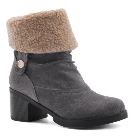 Chunky Heel Suede Boots - GRAY 37