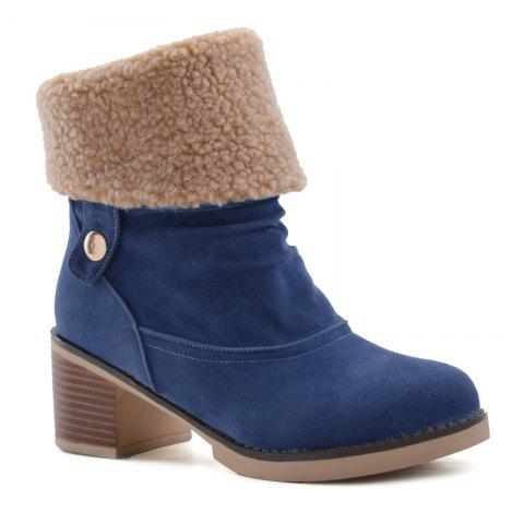 Chunky Heel Suede Boots - BLUE 37