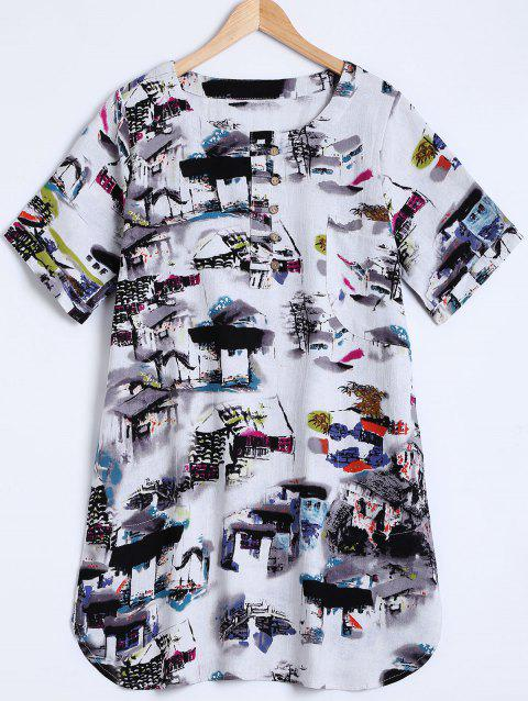 Ink-Painting House Print Furcal Blouse - GREY BROWN ONE SIZE