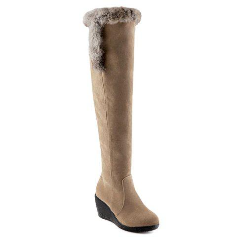 Platform Zipper Faux Fur Thigh Boots - LIGHT CAMEL 40