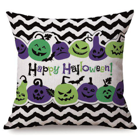 Halloween Sofa Cushion Case Vague Stripe Citrouilles Imprimé oreiller anti-bactérien - multicolore