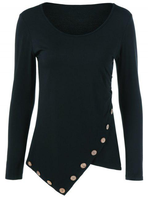 T-shirt Bouton Inclined Asymétrique - Noir XL