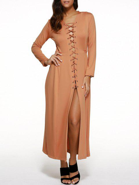 Long Sleeve Lace-Up Maxi Dress - RAL2003 Orange Clair S