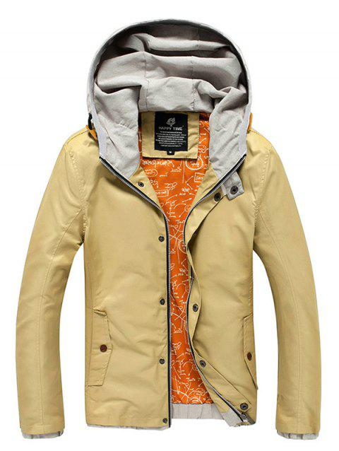 Color Block Spliced Hooded Zip-Up Jacket - KHAKI L