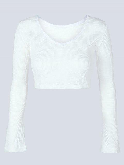 011c2164dfd1 41% OFF  2019 V Neck Long Sleeve Knit Crop Top In WHITE S ...