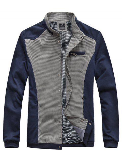 Checked Splicing Stand Collar Zipper Pocket Embellished Jacket - CADETBLUE XL