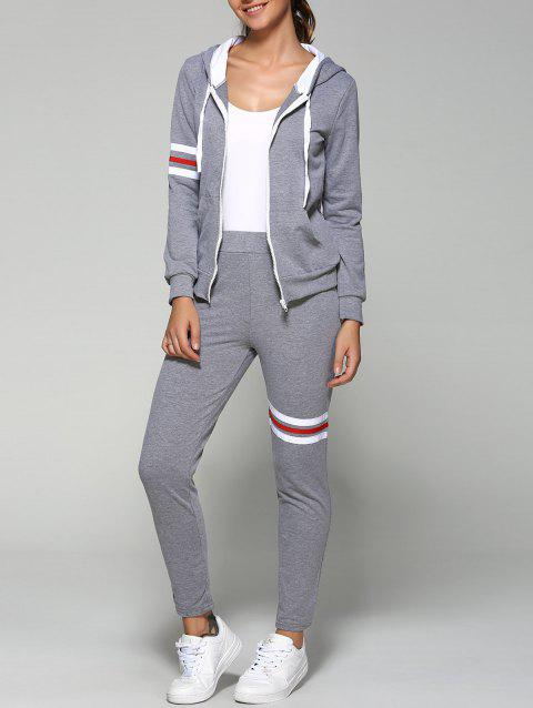 Striped Zip Up Hoodie and Joggers Pants - GRAY L