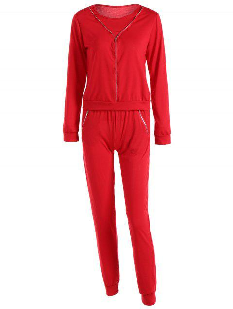 Zippered Pocket Design Sports Suit - RED L