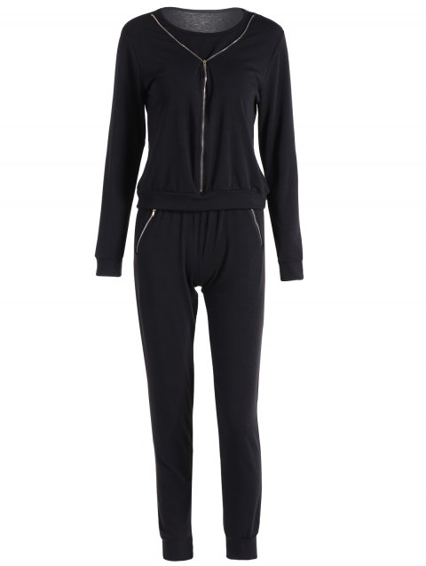 Zippered Pocket Design Sports Suit - BLACK S