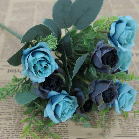 10 Heads Wedding Decorative Artificial Rose Flower - BLUE