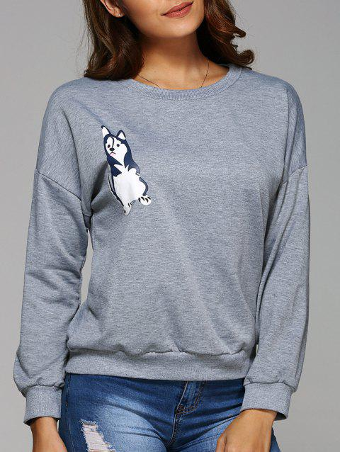 Round Neck Cartoon Print Funny Sweatshirt - GRAY L