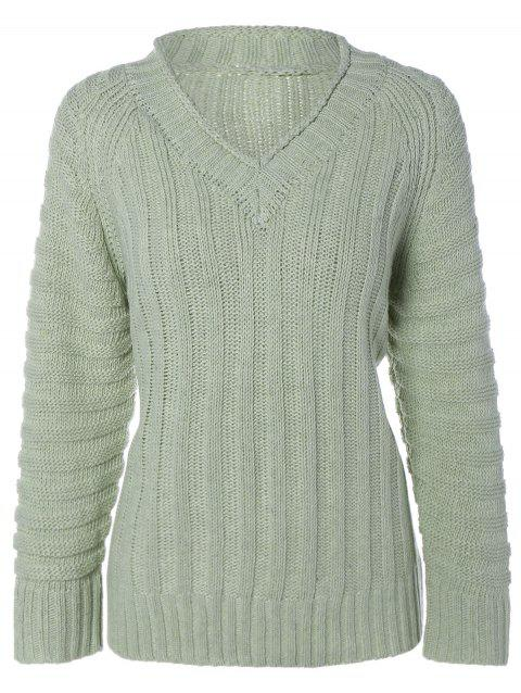 Cable Knit Pull col V - Vert clair ONE SIZE