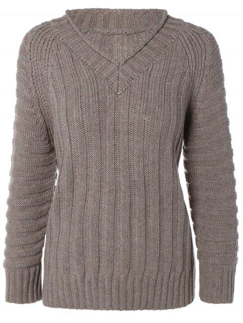 Cable Knit Pull col V - Kaki ONE SIZE