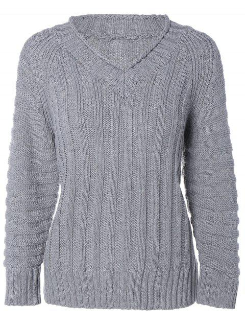 Cable Knit Pull col V - Gris ONE SIZE