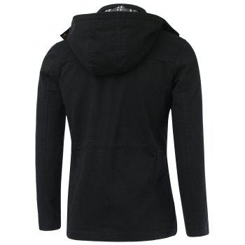 Drawstring Applique Hooded poches Zip-Up Coat - Noir L