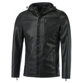 Hooded Causal Zip-Up PU-Leather Jacket