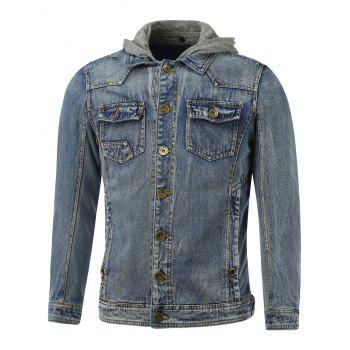 Pockets Design Hooded Bleach Wash Denim Jacket