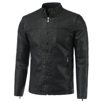 Stand Collar Causal Zip-Up PU-Leather Jacket