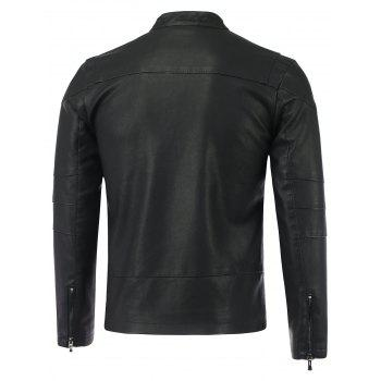 Pied de col Causal Zip-Up PU-Veste en cuir - Noir 2XL
