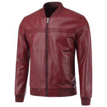 Rib Spliced Stand Collar Causal Zip-Up PU-Leather Jacket
